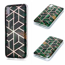 Green Rhombus Galvanized Rose Gold Marble Phone Back Cover for Huawei Y5 (2019)