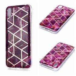 Purple Rhombus Galvanized Rose Gold Marble Phone Back Cover for Huawei Y5 (2019)