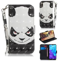 Angry Bear 3D Painted Leather Wallet Phone Case for Huawei Y5 (2019)