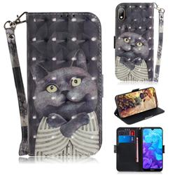 Cat Embrace 3D Painted Leather Wallet Phone Case for Huawei Y5 (2019)