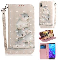Three Squirrels 3D Painted Leather Wallet Phone Case for Huawei Y5 (2019)