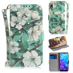 Watercolor Flower 3D Painted Leather Wallet Phone Case for Huawei Y5 (2019)