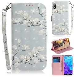 Magnolia Flower 3D Painted Leather Wallet Phone Case for Huawei Y5 (2019)
