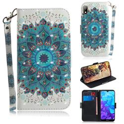 Peacock Mandala 3D Painted Leather Wallet Phone Case for Huawei Y5 (2019)