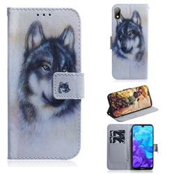 Snow Wolf PU Leather Wallet Case for Huawei Y5 (2019)