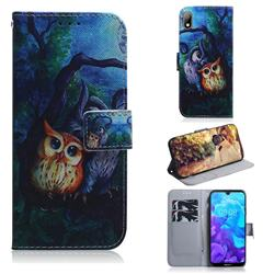 Oil Painting Owl PU Leather Wallet Case for Huawei Y5 (2019)