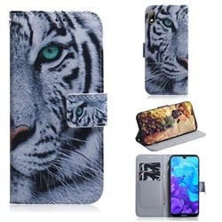 White Tiger PU Leather Wallet Case for Huawei Y5 (2019)