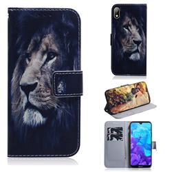 Lion Face PU Leather Wallet Case for Huawei Y5 (2019)