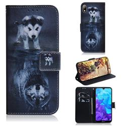 Wolf and Dog PU Leather Wallet Case for Huawei Y5 (2019)
