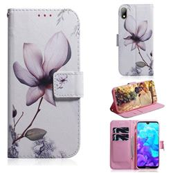 Magnolia Flower PU Leather Wallet Case for Huawei Y5 (2019)