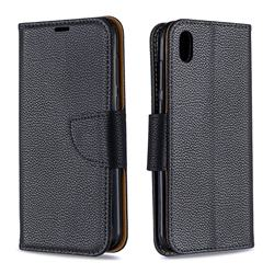 Classic Luxury Litchi Leather Phone Wallet Case for Huawei Y5 (2019) - Black