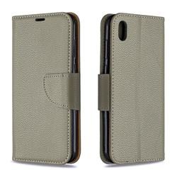 Classic Luxury Litchi Leather Phone Wallet Case for Huawei Y5 (2019) - Gray