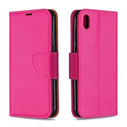 Classic Luxury Litchi Leather Phone Wallet Case for Huawei Y5 (2019) - Rose