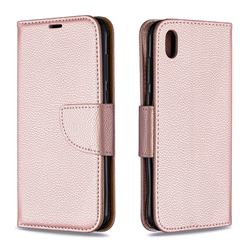 Classic Luxury Litchi Leather Phone Wallet Case for Huawei Y5 (2019) - Golden