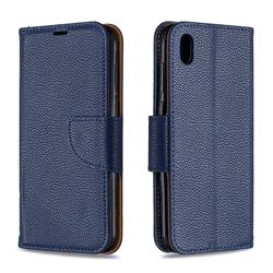 Classic Luxury Litchi Leather Phone Wallet Case for Huawei Y5 (2019) - Blue