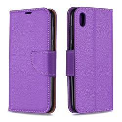 Classic Luxury Litchi Leather Phone Wallet Case for Huawei Y5 (2019) - Purple