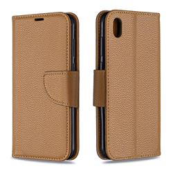 Classic Luxury Litchi Leather Phone Wallet Case for Huawei Y5 (2019) - Brown