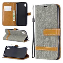 Jeans Cowboy Denim Leather Wallet Case for Huawei Y5 (2019) - Gray