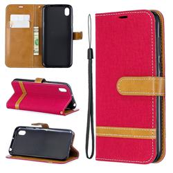 Jeans Cowboy Denim Leather Wallet Case for Huawei Y5 (2019) - Red