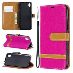Jeans Cowboy Denim Leather Wallet Case for Huawei Y5 (2019) - Rose