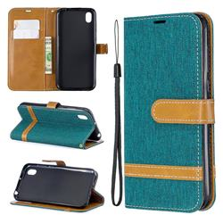 Jeans Cowboy Denim Leather Wallet Case for Huawei Y5 (2019) - Green