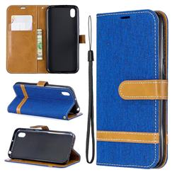 Jeans Cowboy Denim Leather Wallet Case for Huawei Y5 (2019) - Sapphire