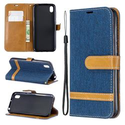 Jeans Cowboy Denim Leather Wallet Case for Huawei Y5 (2019) - Dark Blue
