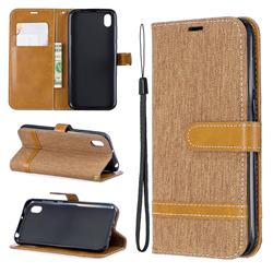 Jeans Cowboy Denim Leather Wallet Case for Huawei Y5 (2019) - Brown