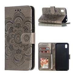 Intricate Embossing Datura Solar Leather Wallet Case for Huawei Y5 (2019) - Gray