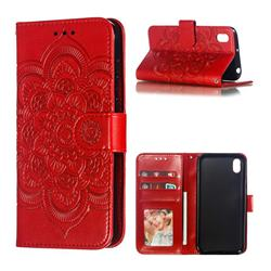 Intricate Embossing Datura Solar Leather Wallet Case for Huawei Y5 (2019) - Red