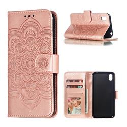 Intricate Embossing Datura Solar Leather Wallet Case for Huawei Y5 (2019) - Rose Gold