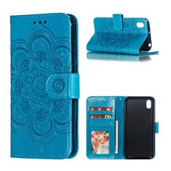 Intricate Embossing Datura Solar Leather Wallet Case for Huawei Y5 (2019) - Blue