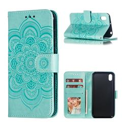 Intricate Embossing Datura Solar Leather Wallet Case for Huawei Y5 (2019) - Green