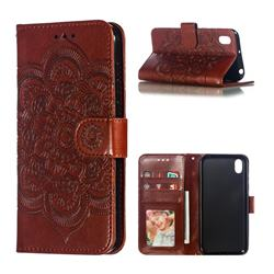 Intricate Embossing Datura Solar Leather Wallet Case for Huawei Y5 (2019) - Brown