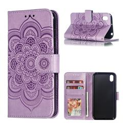 Intricate Embossing Datura Solar Leather Wallet Case for Huawei Y5 (2019) - Purple