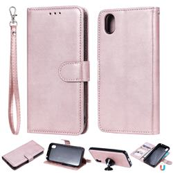 Retro Greek Detachable Magnetic PU Leather Wallet Phone Case for Huawei Y5 (2019) - Rose Gold