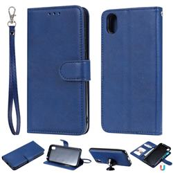 Retro Greek Detachable Magnetic PU Leather Wallet Phone Case for Huawei Y5 (2019) - Blue