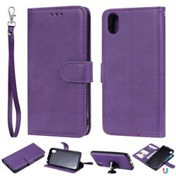 Retro Greek Detachable Magnetic PU Leather Wallet Phone Case for Huawei Y5 (2019) - Purple