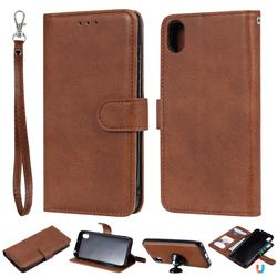 Retro Greek Detachable Magnetic PU Leather Wallet Phone Case for Huawei Y5 (2019) - Brown