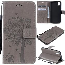 Embossing Butterfly Tree Leather Wallet Case for Huawei Y5 (2019) - Grey
