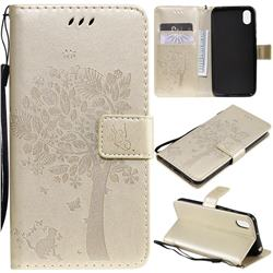 Embossing Butterfly Tree Leather Wallet Case for Huawei Y5 (2019) - Champagne
