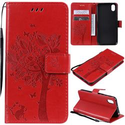 Embossing Butterfly Tree Leather Wallet Case for Huawei Y5 (2019) - Red