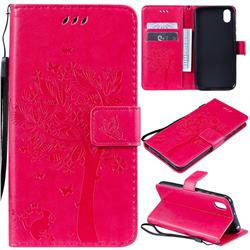 Embossing Butterfly Tree Leather Wallet Case for Huawei Y5 (2019) - Rose