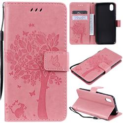 Embossing Butterfly Tree Leather Wallet Case for Huawei Y5 (2019) - Pink