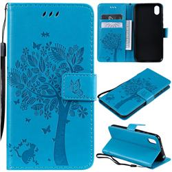 Embossing Butterfly Tree Leather Wallet Case for Huawei Y5 (2019) - Blue
