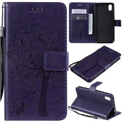 Embossing Butterfly Tree Leather Wallet Case for Huawei Y5 (2019) - Purple