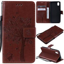 Embossing Butterfly Tree Leather Wallet Case for Huawei Y5 (2019) - Coffee