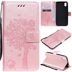 Embossing Butterfly Tree Leather Wallet Case for Huawei Y5 (2019) - Rose Pink