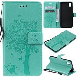 Embossing Butterfly Tree Leather Wallet Case for Huawei Y5 (2019) - Cyan