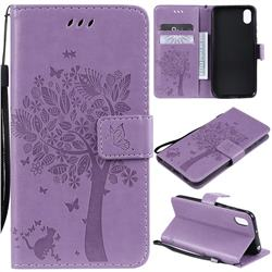 Embossing Butterfly Tree Leather Wallet Case for Huawei Y5 (2019) - Violet